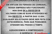 Comunicado de Carnaval - 2019